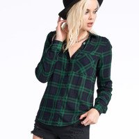 POLLY & ESTHER Challis Womens Boyfriend Flannel Shirt 251099500 | Flannels & Plaids