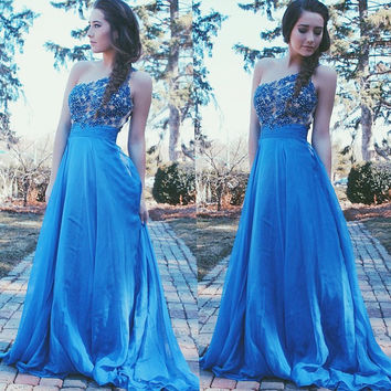 One Shoulder Blue Applique Chiffon Prom Dresses