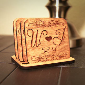 Custom Engraved Wood Couple Initials with Date Coasters