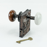 Antique Victorian Lock Set with Key Architectural Salvage