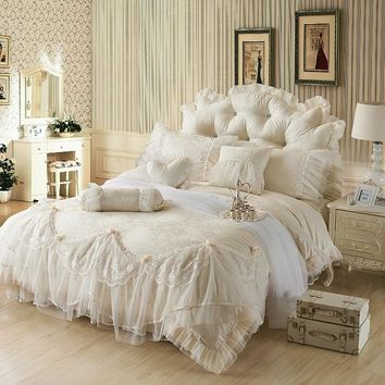 Luxury Jacquard Silk princess bedding sets queen king 4/6/8pcs Beige Lace Ruffles duvet cover bedspread bed skirt bedclothes