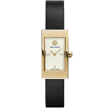 Tory Burch Buddy Signature Watch, Black Leather/gold-tone, 31 X 17 Mm