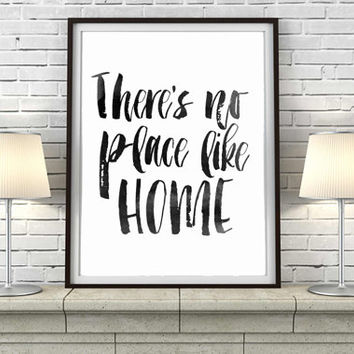 "Wizard of Oz - Book Quote Digital Print INSTANT DOWNLOAD Housewarming Gift Inspirational Quote Print Home Decor ""There's No Place Like Home"""