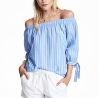 Off-the-shoulder blouse - Light blue/Striped - Ladies | H&M GB