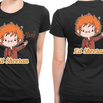 DCCKL83 Ed Sheeran Cartoon Hey 2 Sided Womens T Shirt