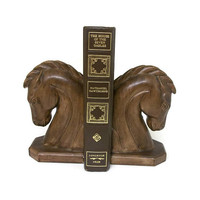 Vintage Ceramic Faux Wood Horse Head Bookends - Pair of Heavy Faux Bois Book Ends Library Mid Century Home Decor - Set of 2 Two