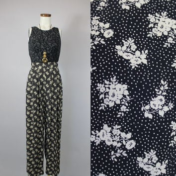 90s - Ivory & Black - Floral Polka Dot - Pleated - High Waist - Billowy Palazzo - Trouser Pants