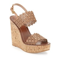 Daisy Perforated Wedge Sandal