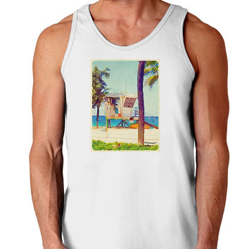 Lifeguard Station Watercolor Loose Tank Top