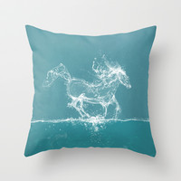 The Water Horse Throw Pillow by Paula Belle Flores
