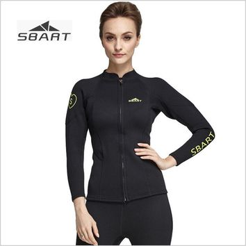 Sbart Womens 2mm Long Sleeve Wetsuit Jacket Black Neoprene for Surf Surfing Diving Suit Tops Scuba Dive