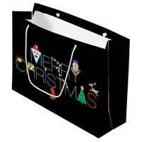 Merry Christmas Typography Large Gift Bag