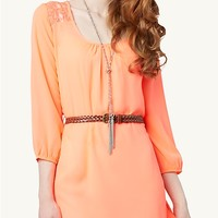Lace Belted Tunic Top