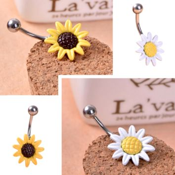 Womens Yellow Sunflower White Daisy Silver Barbell 14g Belly Navel Ring Jewelry