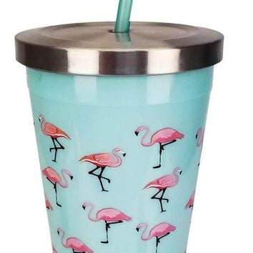 Pink Flamingo Stainless Steel Drinking Cup With Straw