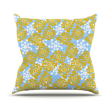 "Nandita Singh ""Blue and Yellow Flowers Alternate"" Gold Floral Throw Pillow"