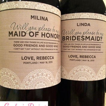 Burlap & Lace Bridesmaid Label - Will you be my Maid of Honor label - Ask Bridesmaid Gift - Custom Wedding Label - Rustic Wedding