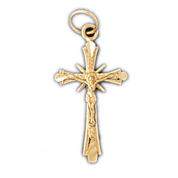 14K GOLD RELIGIOUS CHARM - CRUCIFIX #8536