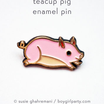 Pig Pin - Teacup Pig Enamel Pin