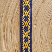 woven bracelet, fabric braclet, blue yellow arm band, patterned wrist band, men ribon bracalet, native ethnic jewelry, women braclet
