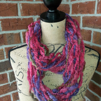 Wool Arm knitted infinity scarf, Pink and purple scarf, knit scarf, infinity scarf, Bulky arm knit scarf