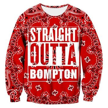Floral Red Sweatshirt Men Letter Straight Outta Bompton Graphic Shirt Homme Fashion 3d Printed Crewneck Hoodies Sudaderas Hombre