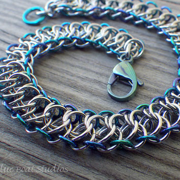 Stainless steel chain maille bracelet with anodized niobium edging; stainless chainmaille bracelet; blue, green & silver chainmaille jewelry