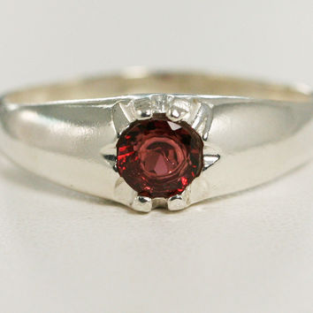 Garnet Ring Sterling Silver, January Birthstone Ring, 925 Garnet Ring, 925 Sterling Silver Ring, Men's Garnet Ring