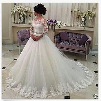 VINO-PROM Charming A-Line Long Sleeves Lace Wedding Dresses