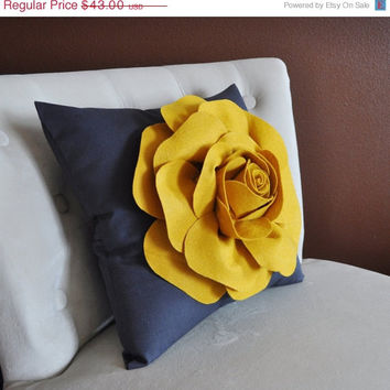 MOTHERS DAY SALE Rose Pillow Mustard Yellow on Grey 16 X 16