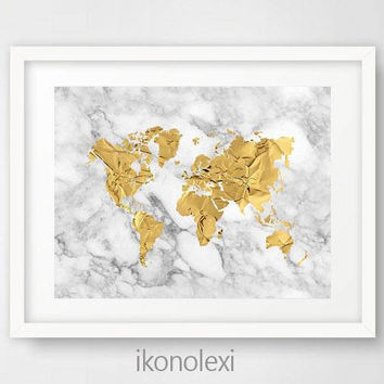 Gold world map, world map poster, map of the world, world map print, gold and marble, world map decor, office wall art, housewarming gift