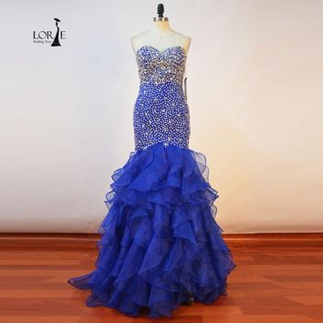 Blue Mermaid Prom Dress Sweetheart Beaded with Rhinestones Crystal Ruffles Real Picture Evening Gowns Graduation vestidos longos