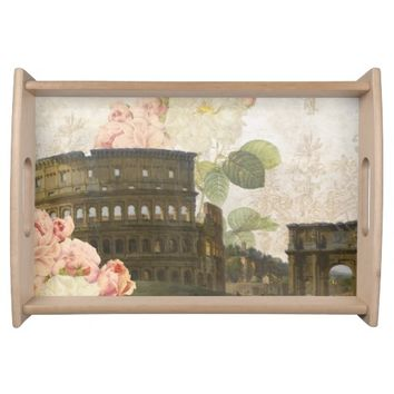 Ancient Rome Pink Roses Tray