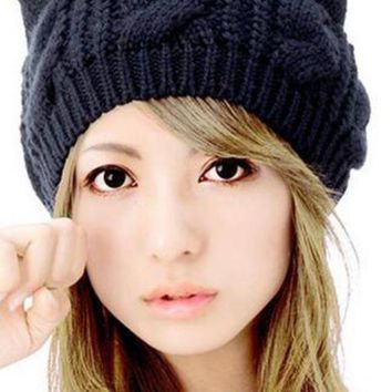 WENDYWU Women Cute Kint Beanie Solid Black Cat Ears Hat Caps Lady Cable Headwear for Woman