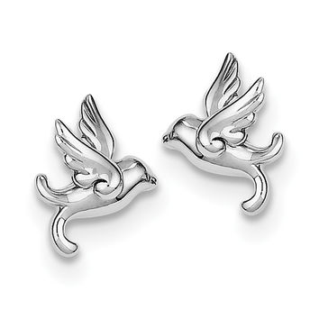 Sterling Silver Rhodium Plated Bird Post Earrings QE8660