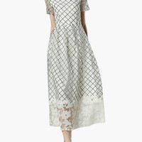 White Plaid Pattern with Floral Lace Accent Short Sleeve Maxi Dress