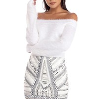 Ivory Icing Fuzzy Eyelash Sweater