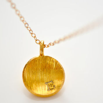 Gold Vermeil Brushed Dome Initial Necklace - Personalized Initial Necklace - Dainty Minimalist Jewelry - Simple Necklace - Modern Jewelry