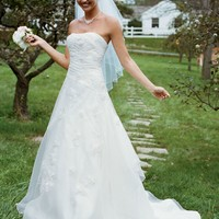 Embroidered Organza Gown with 3D Floral Details - David's Bridal - mobile