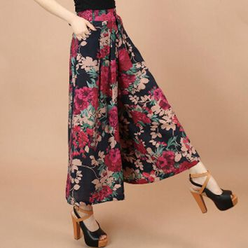 Summer Women Print Flower Pattern Wide Leg Loose Linen Dress Pants Female Casual Skirt Trousers Capris Culottes mujer large size