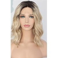 Stassy- Short Black Ombre Blonde Heat Resistant Hand Tied Synthetic Lace Front Wig