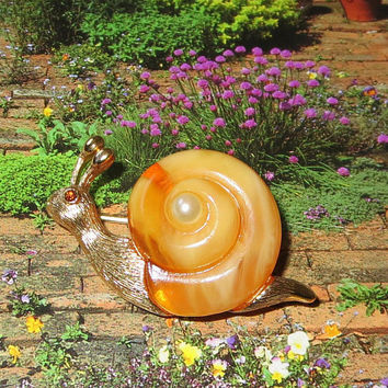 Snail Brooch, Vintage Lucite & Faux Pearl Pin, Signed Fuller, Adorable, Collectible, 1960s Fun!