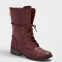 Vintage Faux Leather Combat Boot By Qupid®