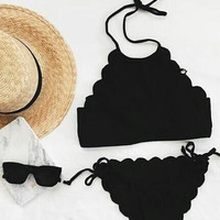CUTE SEXY HALTER SCALLOPED TWO PIECE BIKINI