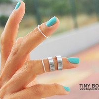 Silver Knuckle Ring - Midi Ring - Stackable Ring Set  - Silver  Ring -  Rings - Mid Knuckle Ring - Stacking Ring Set of 4 Rings by TinyBox1