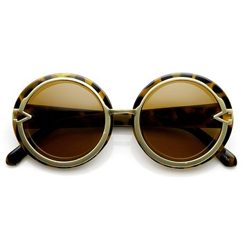 Trendy Womens Oversize Round Fashion Arrow Sunglasses 9162