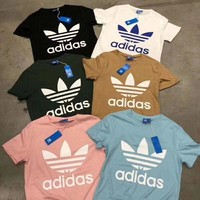 """ADIDAS"" 2018 new men's and women's tide brand fashion printing T-shirt F"