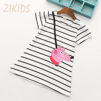 Cute Baby Girl Dress Summer 2017 Cartoon Pink Pig Short Sleeve Striped Dresses for Girls Clothes Kids Children Birthday Party