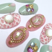 Glitter Mermaid full false/fake 3D nails Japanese gel nail art kawaii seashells fishscales