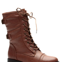 Whiskey Cadet Kelly Faux Leather Lace Up Combat Boots